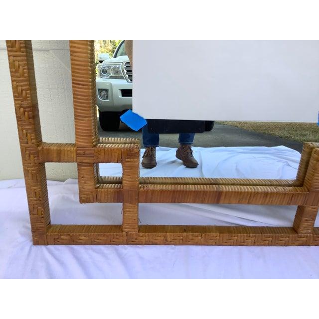 1970s Geometric Rectangular Rattan Mirror For Sale - Image 4 of 5