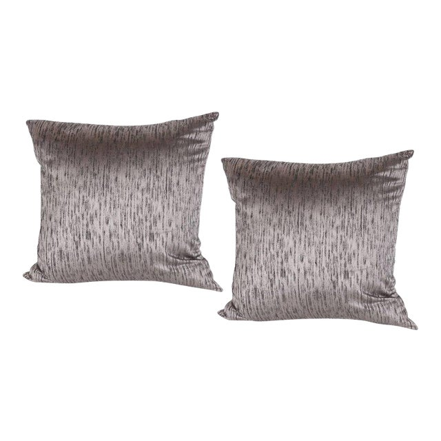 Pair of Modernist Pillows in Iridescent Lavender with Organic Black Patternation For Sale