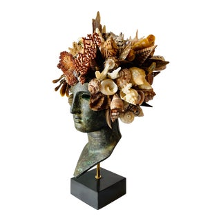 Seashell Encrusted Greek Head For Sale