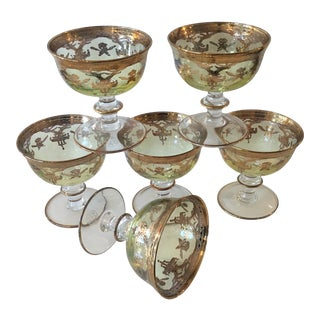 Italian Venetian - Style Timon Gold Decorated Glasses, Set of 6 For Sale