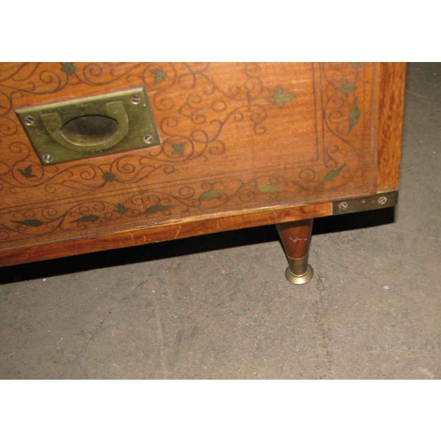 Brass Wood Inlaid Brass Chest of Drawers For Sale - Image 7 of 8