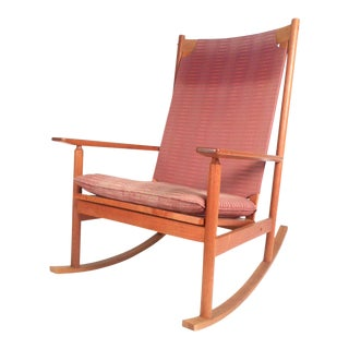 Midcentury Teak Dux Rocking Chair by Hans Olsen For Sale