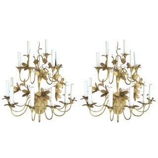 Lively and Large Pair of French 1920's Gilt-Tole Fourteen-Light Floral Sconces