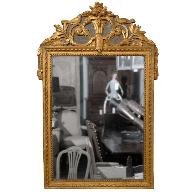 French 19th Century Gilded Carved Mirror With Bird and Rose Motifs For Sale - Image 11 of 11