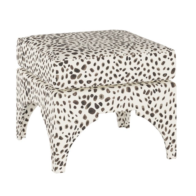 Ottoman, Washed Cheetah Cream Grey For Sale In Chicago - Image 6 of 6