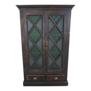 Wood & Stained Glass Doors Tall Storage Cabinet