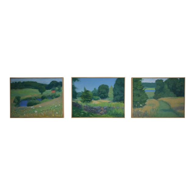 Pastoral Plein Air Contemporary Paintings by Stephen Remick - Set of 3 For Sale