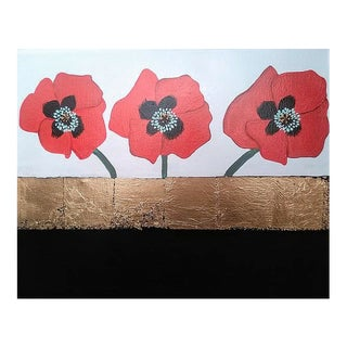 """Poppy Flowers Acrylic Painting With Gold Leaf on Canvas 16x20x1"""" For Sale"""