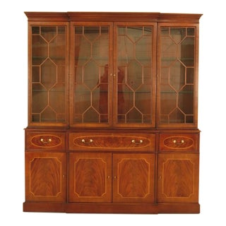 Bernhardt Inlaid Mahogany Large Breakfront China Cabinet For Sale