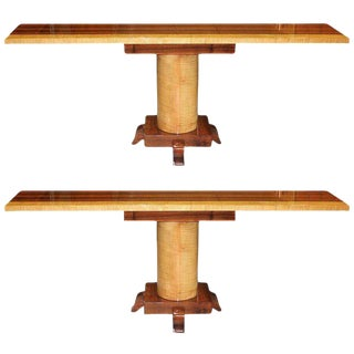 Long Pair Of French Art Deco Palisander / sycamore Console Tables Circa 1940s. For Sale
