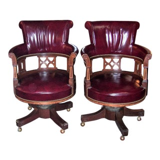 20th Century Burgundy Captain's Chairs - a Pair For Sale