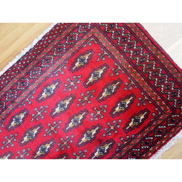 1970s Hand Made Vintage Turkoman Tekke Rug - 2' X 4.4' For Sale - Image 4 of 7