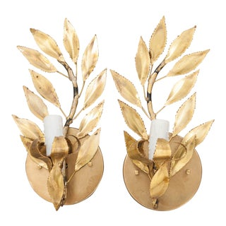 Mid 20th Century French Gilt-Brass Single-Arm Laurel Leaf Sconces - a Pair For Sale