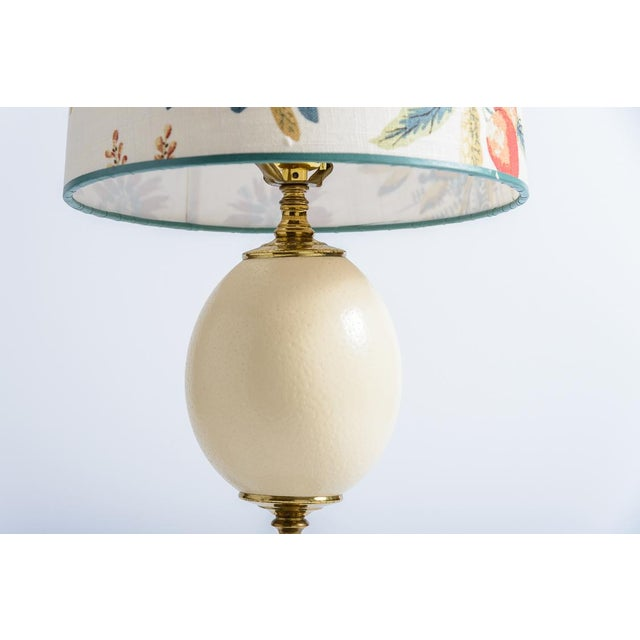 Antique French Ostrich Egg Table Lamps With Brass & Marble Base, A-Pair For Sale - Image 4 of 13