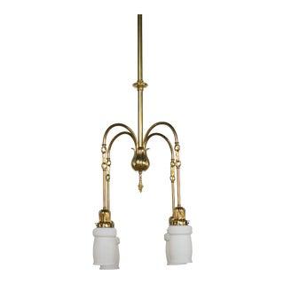 Four Light Art Nouveau Chandelier With Calcite Steuben Style Glass For Sale