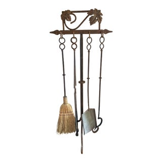 Aged Iron Fireplace Tool Set - 4 Tools on a Stand For Sale