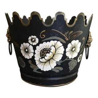 Vintage French Tole Toleware Cache Pot For Sale