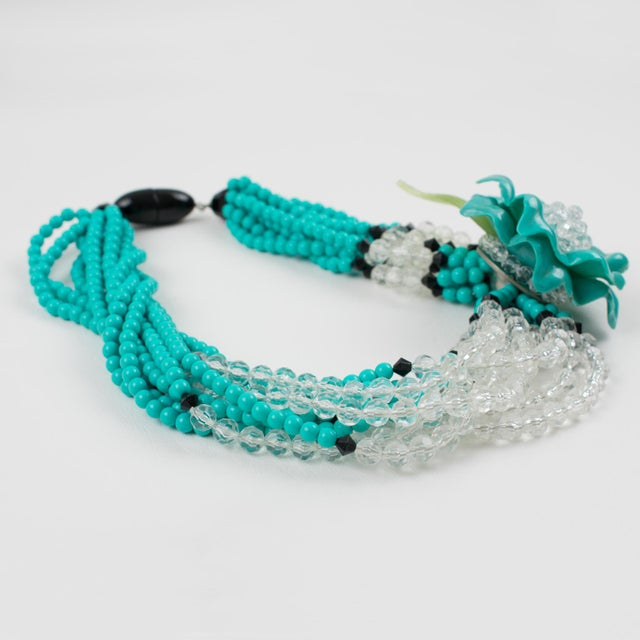 Angela Caputi Turquoise and Black Resin Necklace with Oversized Flower For Sale In Atlanta - Image 6 of 13