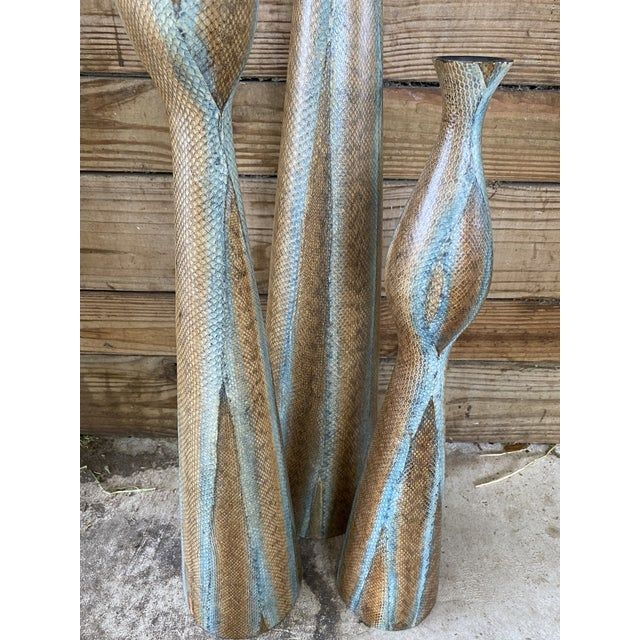 African Snake Skin Wrapped Resin Vases - Set of 3 For Sale - Image 3 of 13