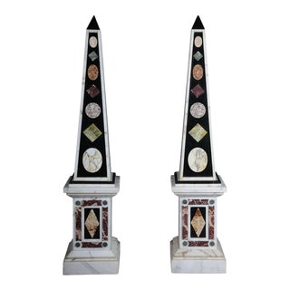 Mid 20th Century White Marble Obelisks - a Pair For Sale