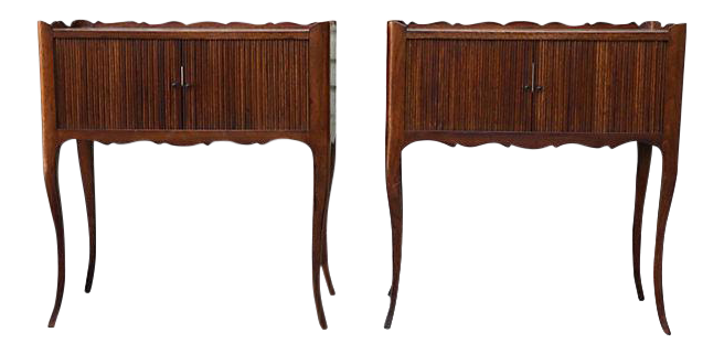 Accordion Radio Side Tables   A Pair