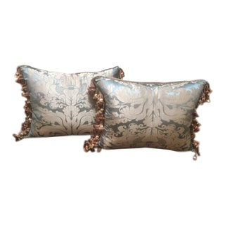 Scalamandre Hand Hammered Silk Damask Pillows - A Pair For Sale