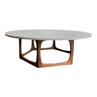 Mid Century Sculptural Coffee Table and Stone Top For Sale