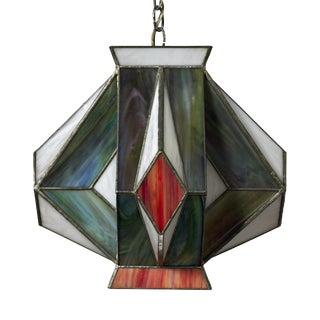 Mid-Century Modern Stained Glass Geometric Pendant Light