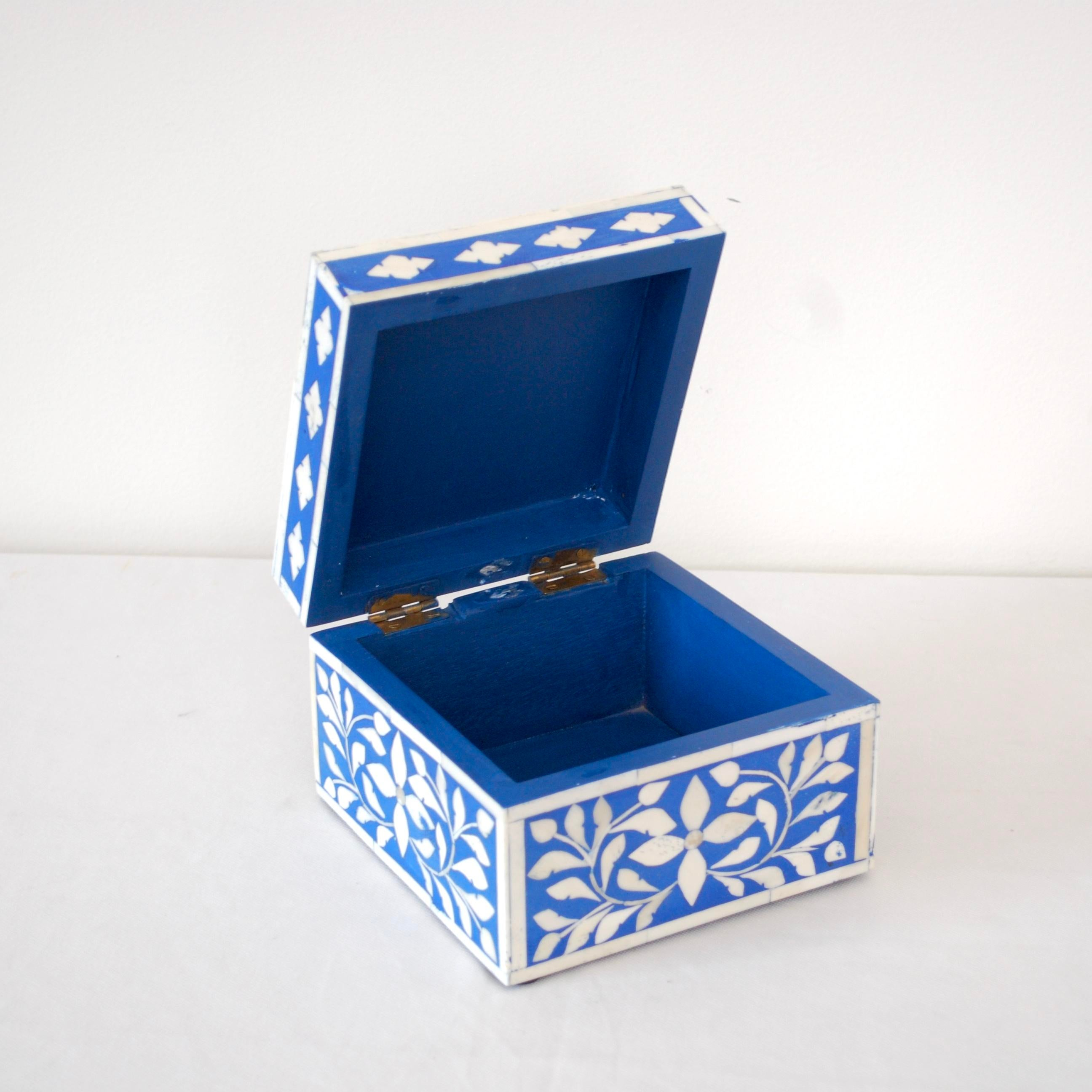 Indian Bone Inlaid Blue Jewelry Box Chairish