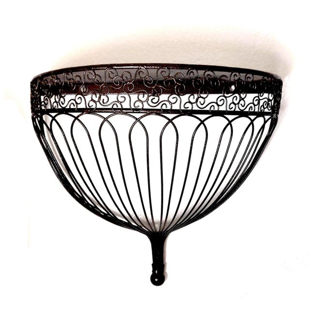 Traditional 1990s Belle Epoque Style Demilune Metal and Wire Birdcage Inspired Wall Shelf Bracket For Sale - Image 3 of 7