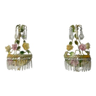 1920s French Porcelain Roses Crystal Tole Sconces - a Pair For Sale