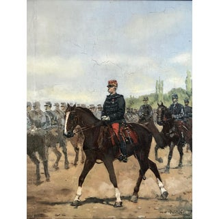 Painting of Mounted Horsemen by Listed French Artist Pierre Peti Gerard For Sale