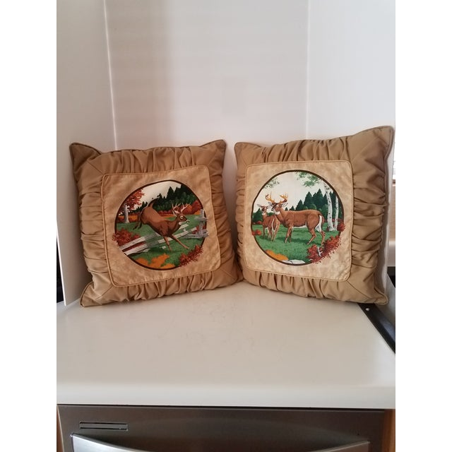 2000 - 2009 Tufted Deer Accent Pillows - A Pair For Sale - Image 5 of 5