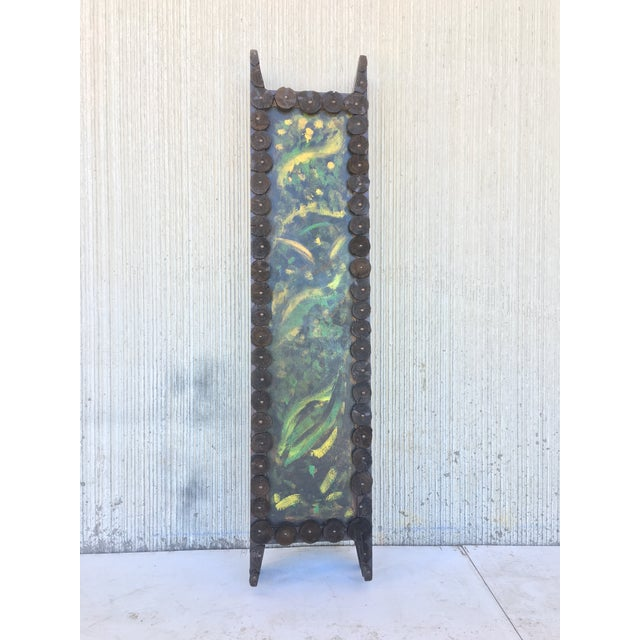 Wood 20th Century Arts & Crafts Folding Screen & Hand Painted Decoration Room Divider For Sale - Image 7 of 13