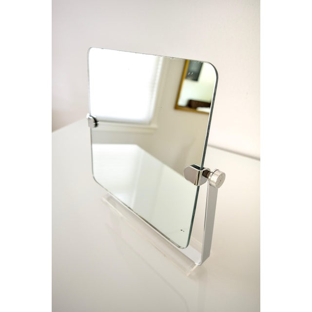 Mid Century Chrome and Lucite Adjustable Tabletop Mirror For Sale - Image 5 of 10
