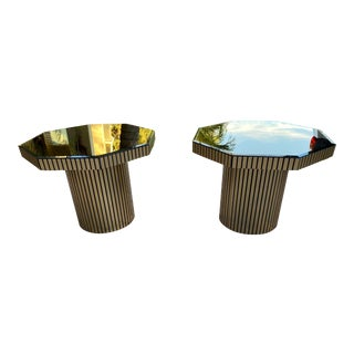 Octagon Coffee Tables Black and Gold a Pair For Sale