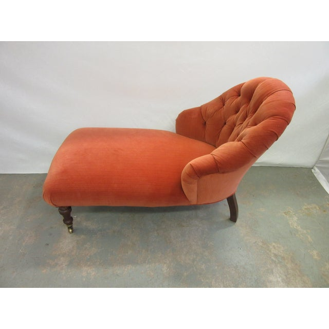 Traditional 1970's Vintage Hancock and Moore Orange Velvet Chaise For Sale - Image 3 of 9