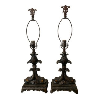 Vintage Quoizel Double Dolphin Lamps - a Pair For Sale
