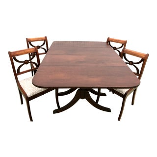 Early 20th Century Antique Duncan Phyfe American Classical Mahogany Dining & Chairs - 5 Pieces