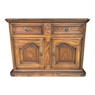 1970s French Country Century Furniture Oak Flip Top Server