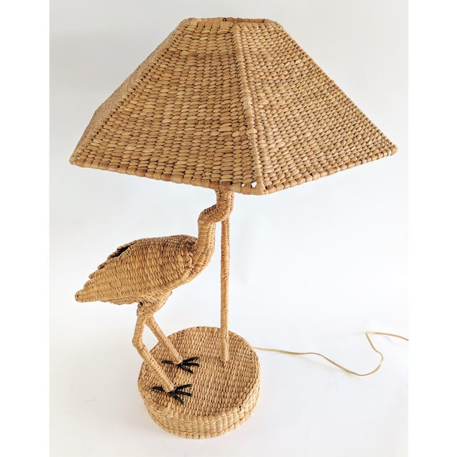Wicker Mario Lopez Torres 1974 Monumental Egret Wicker Table Lamp For Sale - Image 7 of 13