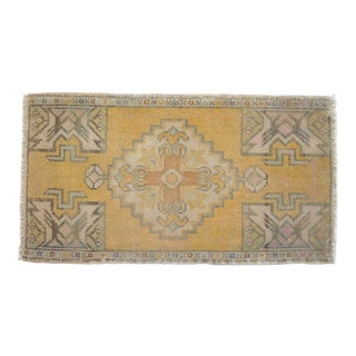 Distressed Low Pile Rug Turkish Yastik Petite Rug Faded Mat - 19'' X 35'' For Sale