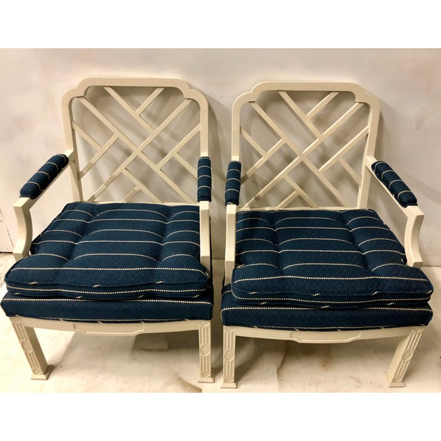 Wood Pair of Erwin Lambeth Chinese Chippendale Chairs For Sale - Image 7 of 10