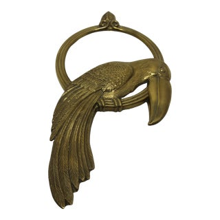 Cast Brass Toucan Round Wall Mirror For Sale