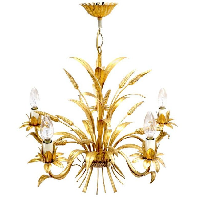 Gold Gilt Metal Cattail Sheaf Light Fixture Chandelier For Sale - Image 9 of 9