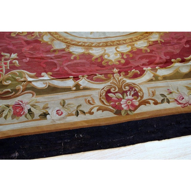 Mid 19th Century 1860s, Handmade Antique French Abussan Flat-Weave For Sale - Image 5 of 12