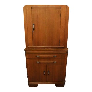 20th Century Art Deco Tall Hamilton Walnut Medical Cabinet For Sale