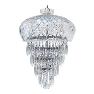 Vintage Hand Cut Glass Dish Layered Chandelier For Sale