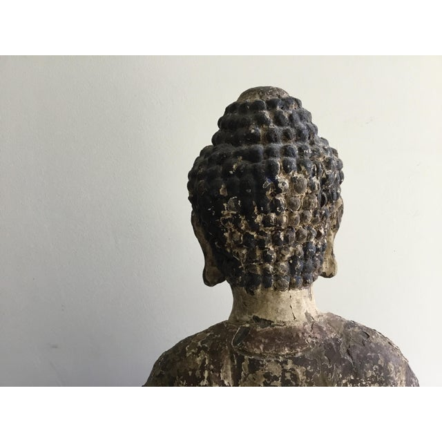 Antique Wooden Carved Buddha Figurine For Sale - Image 9 of 12