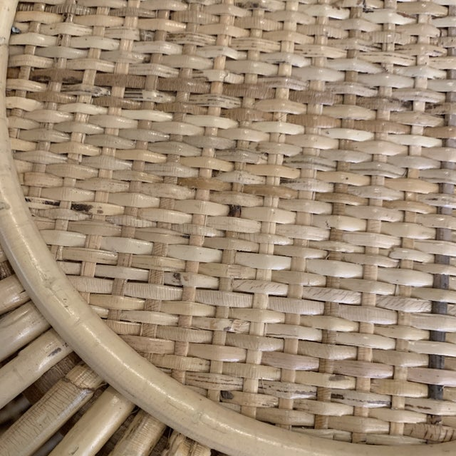Franco Alibini Style Round Rattan Ottoman Side Table For Sale - Image 10 of 12
